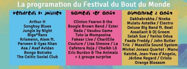 Festival Bout du Monde 2015 - Programme