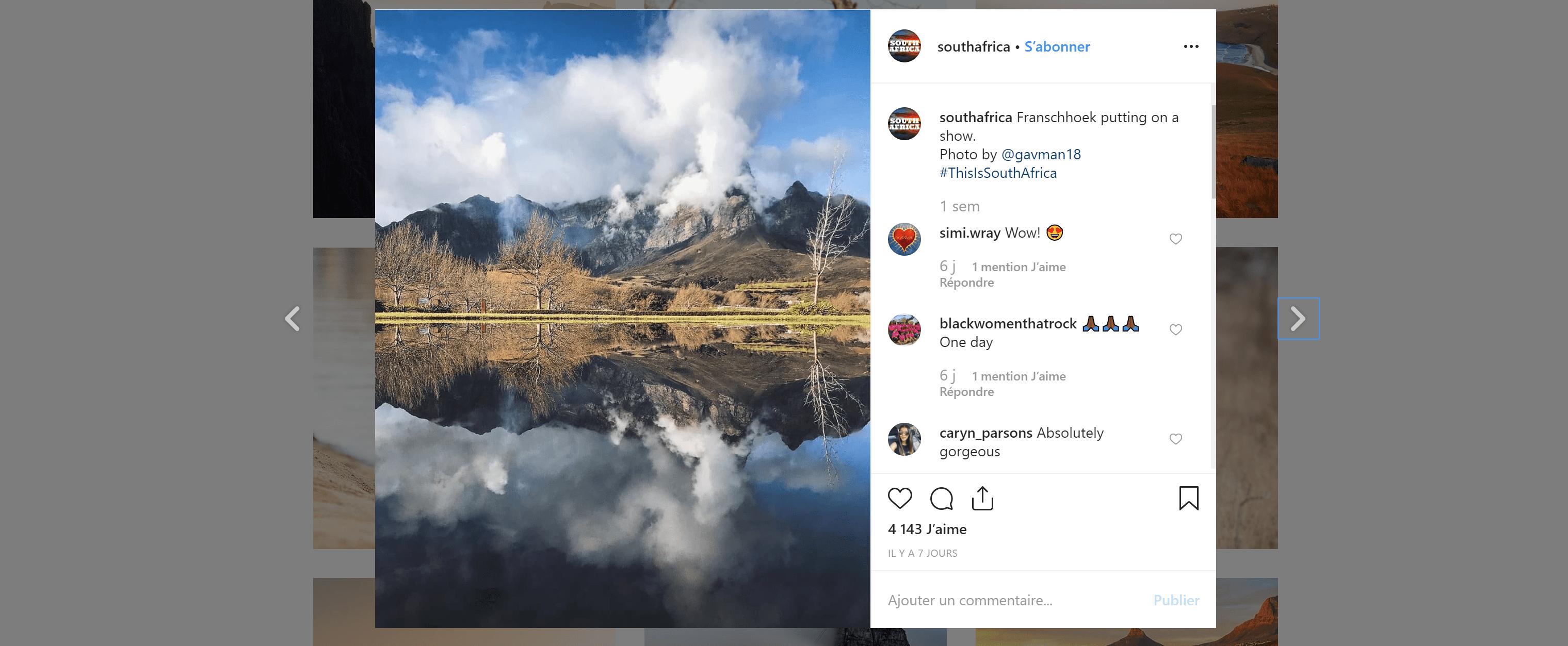 Promouvoir l'Afrique du Sud via Instagram